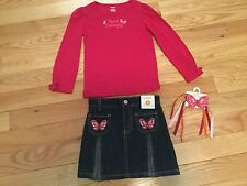 NWT Gymboree Girls 3PC Lot Butterfly Girl Outfit Pink Shirt & Jean Skirt SZ5