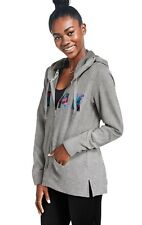 Nwt M Victoria's Secret Pink Tropical Palm Side Slit Full Zip Hoodie Clay Gray