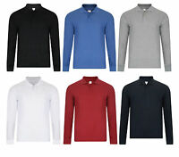 MENS POLO SHIRT LONG SLEEVE PLAIN PIQUE POLO TOP BNWT