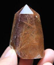72g Rare ! Natural Copper Hair Rutilated Quartz Crystal Point Tibetan Specimen