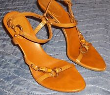 ~ Gucci All Brown Leather Bamboo Strappy Sandal Heels ~ Size 6.5 B ~