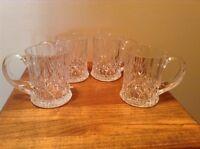 Set of 4 beautiful Mikasa crystal mugs paneled sides