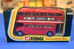 VINTAGE CORGI 468 LONDON ROUTEMASTER BUS - 'OUTSPAN' LIVERY VNM IN ORIGINAL BOX