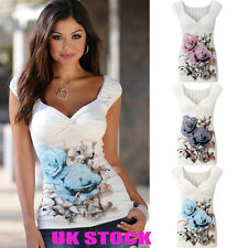 UK Womens Floral Pleated Casual Tops Ladies Sleeveless Vest T Shirt Blouse Tee