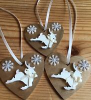 3 X Reindeer Christmas Decorations Shabby Chic Rustic Wood Heart Gold Cream Bows