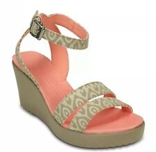 NEW NWT Crocs Womens Leigh Graphic Wedge Shoe Stucco/Tumbleweed Sz:8
