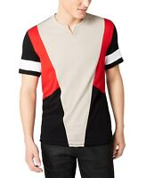 INC Mens T-Shirt Red Black Beige Size XL Colorblock Raw-Edge Split-Neck $29 153