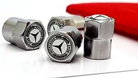 4x Mercedes White Car logo Tyre Valve Caps with Gift Pouch - Buy 2 Get 1 FREE