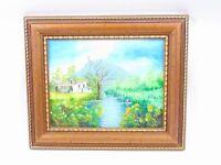 Framed Oil On Canvas - Rural River Scene - Poss Scotland - Highland -