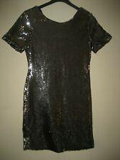 "A LOVELY STYLISH TOPSHOP PETITE SILVER SEQUIN DRESS SIZE 8 LENGTH 30"" PIT-PIT 14"