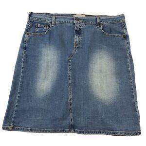 Vintage LEVIS Strauss Prairie Knee Length Denim Skirt Women's Size 18 Back Slit