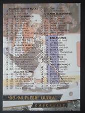 NHL 249 Checklist Fleer Ultra 1993/94