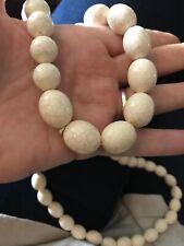 Oval Bead Graduated Crackle Cream Retro Necklace Lagenlook Long