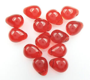50 Ruby Red Czech Glass Tear Drop Beads 8mm LIMITED