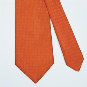 HERMES TIE Faconnee H in Dark Orange Classic Twill Silk Necktie