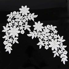 Off-white Venise Embroidery Motif Flowers Lace Trims Sew On Applique 1 Pair