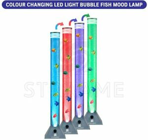 Extra Large 90cm Colour Changing LED Sensory Bubble Tube Lamp Silver Fish Water