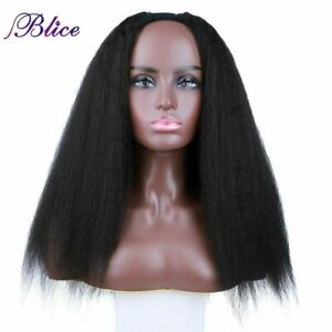 Kinky Straight U Part Synthetic Hair Wigs Glueless Clip in Head Bang Half Wigs