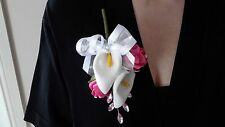 Ladies Fuchsia  Pink & White Buttonhole