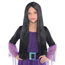 BLACK LONG CLASSIC WITCH WIG HALLOWEEN Girls Childs Kids Fancy Dress Costume