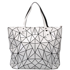 Women Geometric Leather Shoulder Bag Messenger Satchel Tote Bags (White)
