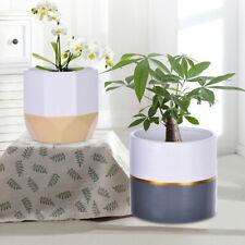2Pc Ceramic Flower Pot Garden Planters Indoor Plant Containers W/ Drainage Holes