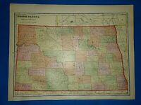 Vintage 1909 Atlas Map ~ NORTH DAKOTA ~ Old & Authentic ~ Free S&H