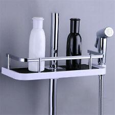 Bathroom Pole Shelf Shower Storage Rack Organiser Tray Holder ABS+Aluminum