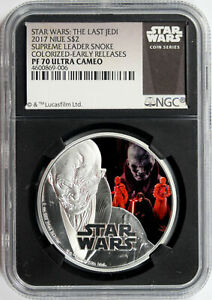 2017 Star Wars Snoke Colorized Silver $2 Niue NGC PF70UCAM Early Releases