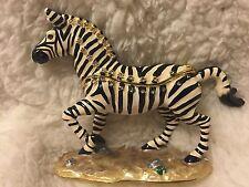 Enameled Pewter Swarovski Bejeweled Zebra Trinket Box