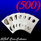 Внешний вид - (500) Assorted Sizes 2x2 Mylar Cardboard Coin Flips for Storage | Paper Holders