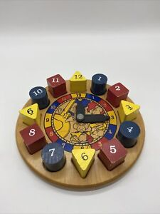 Wood Puzzle Time Clock Homeschool Educational Numbers Colors Shape