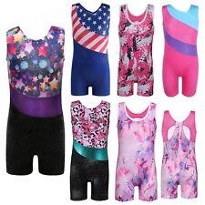 Little Girls Shiny Gymnastic Leotards Sports Training Ballet Tank Bodysuit 3-15Y