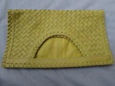 CHICOS yellow leather woven handbag clutch