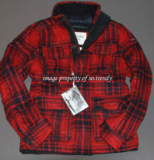 NWT! ABERCROMBIE Mens Vintage Pine Point Quilted Wool Plaid Jacket Coat M $280