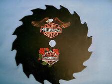 "HAND PAINTED 7"" Circular Saw Blade Art Harley Davidson Eagle & Roses Wall Plaque"