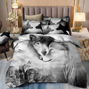 Animal Wolf Duvet Cover Pillowcases Bedding Set Queen/King Size Comforter Covers