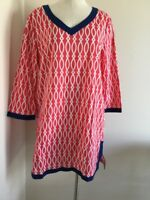 Occasionally Made Women Sz L Tunic Blouse  3/4 Sleeve Red Geometric Navy Trim