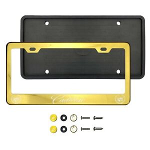 New Cadillac LaserEtched Gold Stainless Steel License Plate Frame Silicone Guard