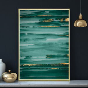 Green & Gold Minimalist Watercolour Painting Wall Art Print Poster A4 A3 A2 A1