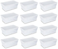 Sterilite 6 Quart Clear Stacking Closet Storage Tote with White Lid (12 Pack)