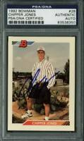 Braves Chipper Jones Authentic Signed Card 1992 Bowman Rc #28 PSA/DNA Slabbed