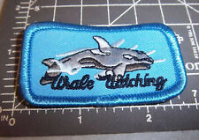 Whale Watching smaller embroidered patch, cute whale, great graphics & colors