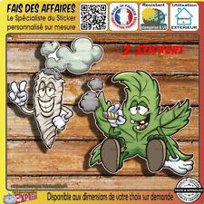 2 Stickers autocollant Cannabis Marijuana humour decal Weed ganja smoke