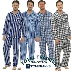 New Mens Traditional Flannel Cotton Pyjamas Check Set Sleeping Night PJ M-XXL TF