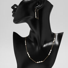 """Handmade Set!4-4.5MM White Pearl Necklace&Earrings 14K Yellow Gold Filled 18.3"""""""