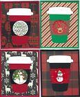 Handmade CHRISTMAS LATTE GIFT CARD/MONEY HOLDERS #C$L-15--Lot of 4
