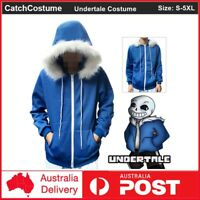 Undertale Sans Cosplay Hoodie Adult Hooded Jacket Coat Sweater Costume - Blue