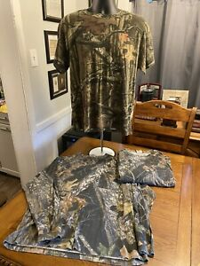 Lot of 3 Camo Hunting T Shirts Mossy Oak Sizes L And XL / Long & Short Sleeve