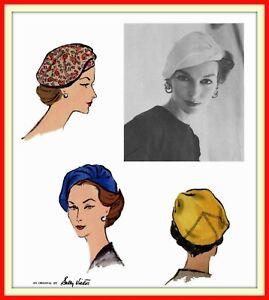 Hats Flower WIG BUCKET Veil SNOOD Vtg 1940s Butterick 8880 Fabric Sewing Pattern